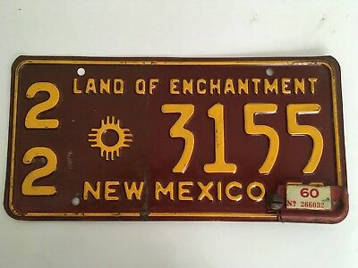 1960 New Mexico License Plate Tab on 1959 YOM Ford Dodge Buick Chevy Single Year