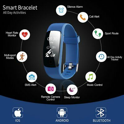 Bluetooth Smart Wristband Bracelet Waterproof Fitness Heart Rate Monitoring US