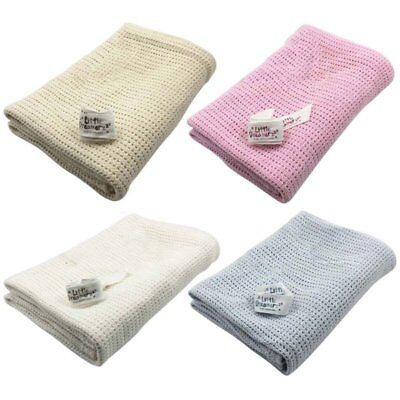 100% Cotton Baby Cellular Blanket Pram Cot Bed Crib Soft Moses Basket 75x100cm