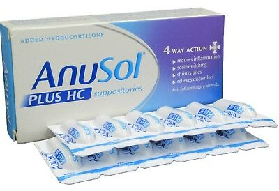 Anusol Plus HC SUPPOSITORIES Haemorrhoids 4 Way Action - 12 Pack
