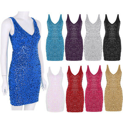 Women's V-Neck Sequined Bodycon Sleeveless Evening Party Cocktail Mini Dress