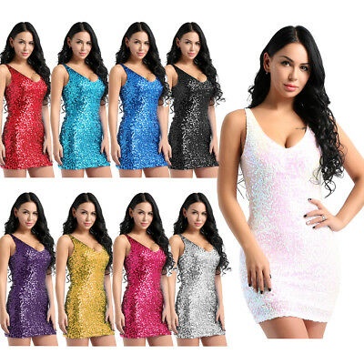 Womens V-Neck Sequins Sleeveless Bodycon Evening Party Cocktail Short Mini Dress