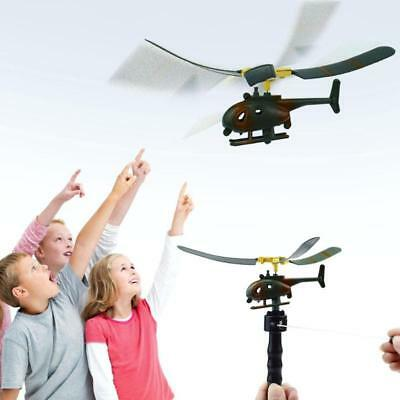 Funny Outdoors Helicopter Pull String Handle Educational Toy Gift For Kids Boys