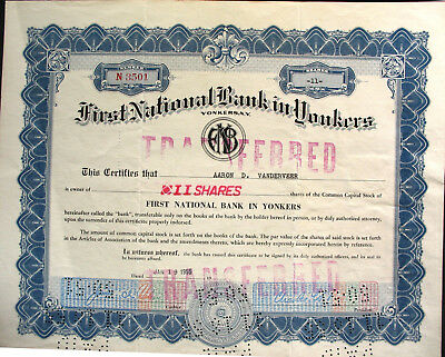 First National Bank of Yonkers Bank Aktie 1955 United States of America USA