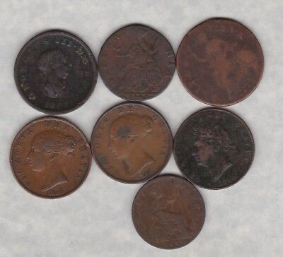 7 Early Copper Half Pennies Charles Ii To 1886 In A Well Used Condition