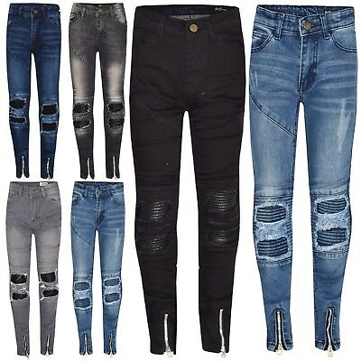 Kids Boys Stretchy Designer's Jeans Ripped Denim Skinny Pants Trousers 5-13 Year