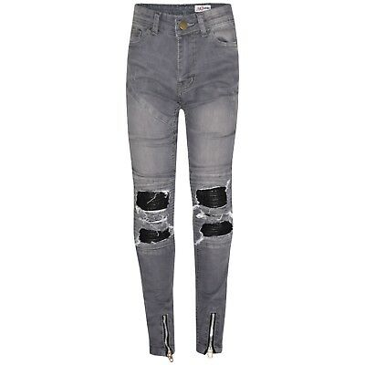 Kids Boys Grey Stretchy Designer's Jeans Ripped Denim Skinny Pants Trousers 5-13