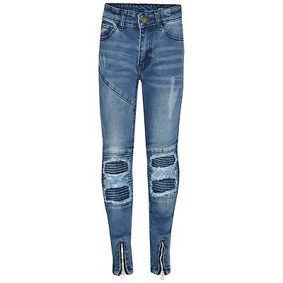 Kids Boys Mid Blue Stretchy Designer's Jeans Ripped Denim Skinny Pants Trousers