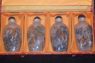 "4pc Chinese folk Inside painting ""Eight tiger Figure"" glass snuff bottle"