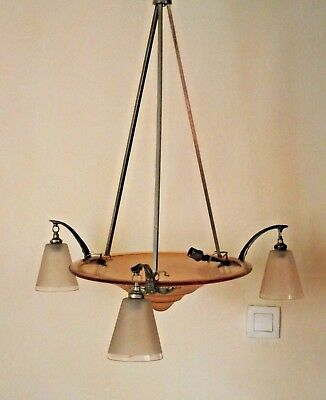 French Art Deco Ceiling Light With Center Glass Bowl 3 Outer Shades Metal Frame