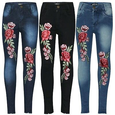 Kids Girls Stretchy Designer Jeans Denim Pants Rose Embroidered Trousers Jegging