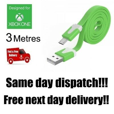 GREEN Xbox One Controller Charging Cable 3 Metre 3m Long Lead USB UK Stock c105F