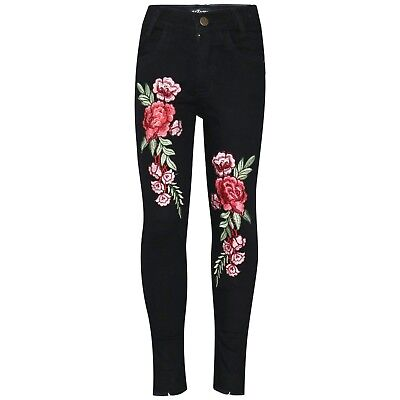 Kids Girls Black Stretchy Jeans Rose Embroidered Denim Pants Trousers Jegging