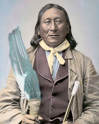 "YOUNG MAN AFRAID OF HIS HORSES NATIVE AMERICAN INDIAN 8x10"" COLOR TINTED PHOTO"