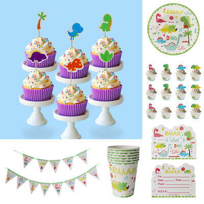 Kids Birthday Party Tableware Set Food Grade Paper Dinosaur Theme Party Supplies