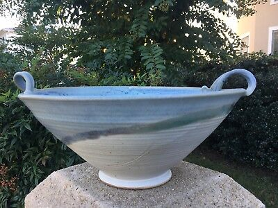 Stoneware Bowl With Handles Handmade Crafted Clay Pottery