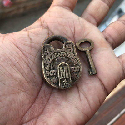 (01) old or antique solid brass padlock / lock with key carving small miniature