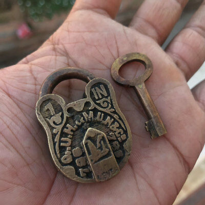 (04) old or antique solid brass padlock / lock with key carving small miniature