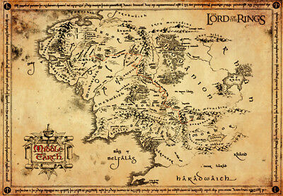 Lord Of The Rings Parchment Map LOTR Vintage Paper Parchment Map Aged 47x67cm