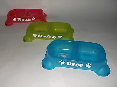 Personalized Small Pet Food Bowl Water Dish for Dog or Cat! Color your Choice!