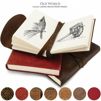 Old World Luxury Italian Leather Bound Soft Cover Sketch Books Embossed Patterns
