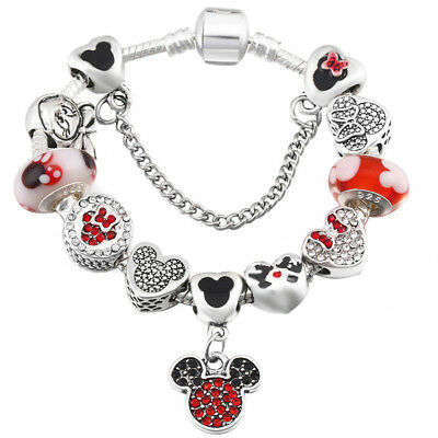 Disney Mickey & Minnie Mouse Heart Palace Charm Bracelet Silver Glass Pandora A1