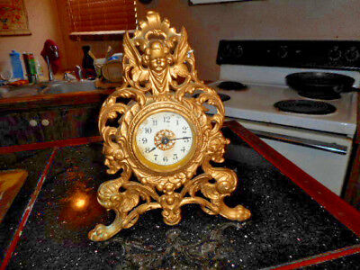 ANTIQUE MYTHICAL Brass Metal Shelf / Mantle Clock Case with Dial, Parts Repairs.