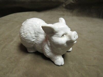 Vintage Small Size Porcelain Figurine of White Pig Made in Japan 1920's