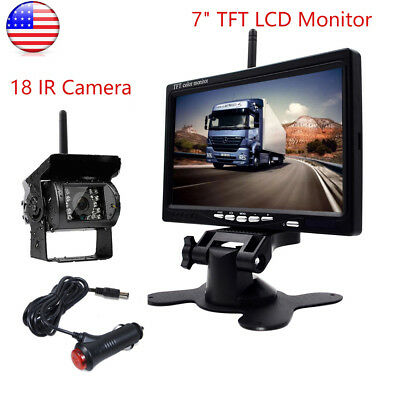 "Wireless IR Night Vision Rear View Backup Camera 7"" TFT Monitor Kit for RV Truck"