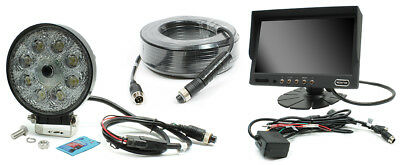 """Rostra Round LED Work Light w/Built-in Camera w/7"""" Dash Display & 20 Meter Cable"""