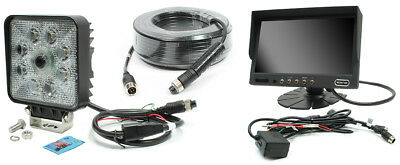 """Rostra Square LED Work Light w/Built-in Camera w/7"""" Dash Display &20 Meter Cable"""