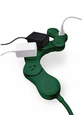 Quirky Flexible 6 Outlet Pivot Power Strip Cord Surge Protector Dark Green NEW