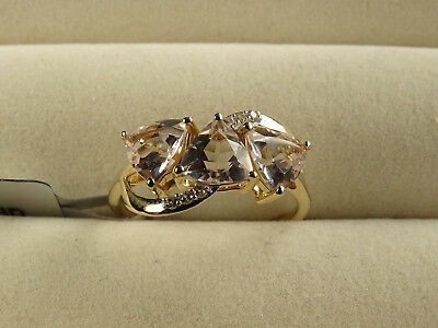 Rare Mutala Pink/Peach Morganite Trilogy & Zircon 10K Y Gold Ring Size N-O/7