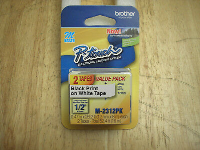 "NEW M-2312PK 2-Pack Brother P-Touch M Series Label Tape Refills 1/2"" M-231"