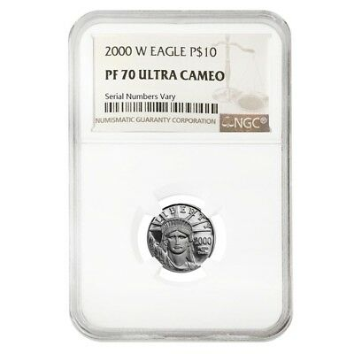 2000 W 1/10 oz $10 Platinum American Eagle Proof Coin NGC PF 70 UCAM