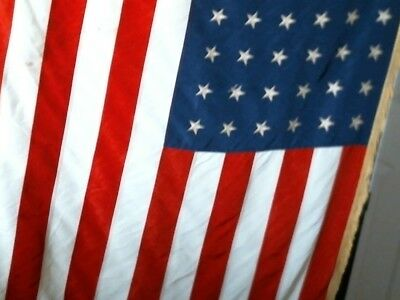 """WWII US 48 star flag with gold fringe size 35"""" x 58"""" gold stars distress silk***"""