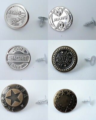 Metal Jean Pants Tack Buttons Replacement Jeans Trousers Nickel Brass