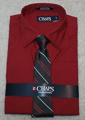 New! Boys Chaps Button-Up Shirt and Tie (Classic Fit; Christmas; Red) Size 6, 7