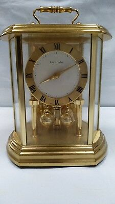 Vintage Hermle Quartz Anniversary Torsion Lantern Brass Carriage Clock