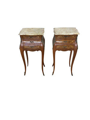 Vintage French Night Stands, Marble Top, Floral Inlay, Bronze Accents