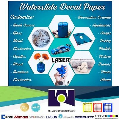 """LASER Waterslide Decal COMBO 5 Sheets Each CLEAR & WHITE Paper, 8.5"""" x 11"""" A+"""