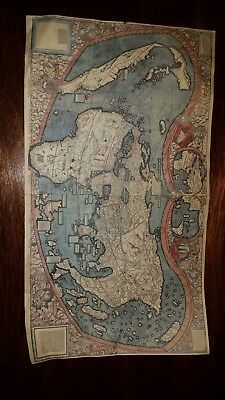 "Antique Atlas Map 'Universalis Cosmographia' Colour 16""x 9"""