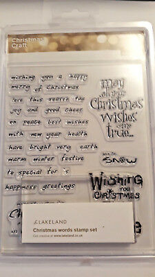Christmas Words Unmounted Clear Rubber Stamp set With Stamping  Block