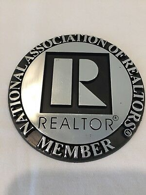 """REALTOR Branded 3 inch Round Auto Emblem - Silver - """"R"""" with lettering"""