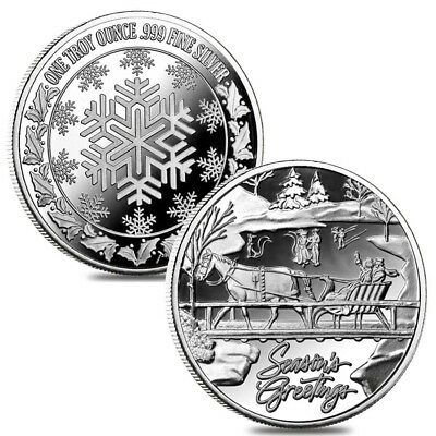 Lot of 2 - 1 oz Horse & Sleigh Silver Christmas Round .999 Silver