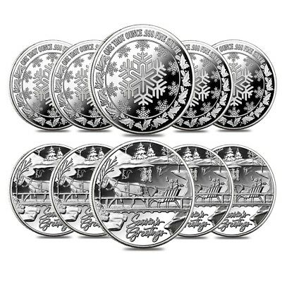 Lot of 10 - 1 oz Horse & Sleigh Silver Christmas Round .999 Silver
