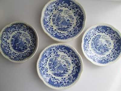 4 Vintage Blue & White Woods Seaforth Saucers Plates Dishes