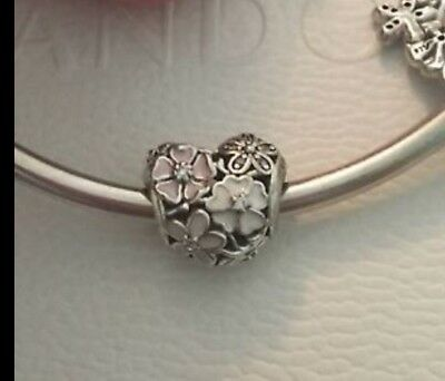 Genuine Pandora 1/2 PRICE SALE Poetic Blooms Heart Charm & Pandora Gift Pouch
