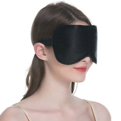 1PC New Pure Silk Sleep Eye Mask Padded Shade Cover Travel Relax Aid BlindfoldFO