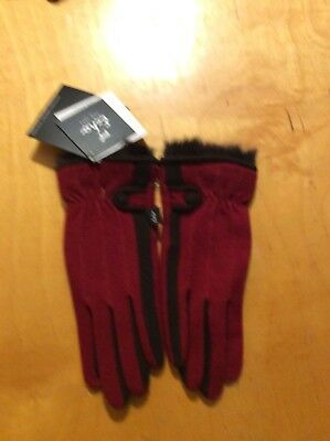 $58  Echo touch   Red  gloves with Rabbit fur  size  Medium BB4